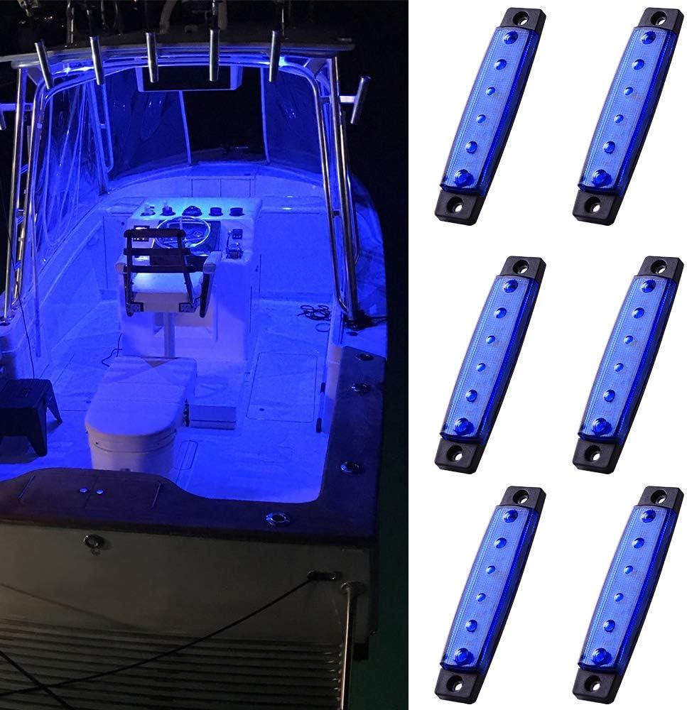 MNJ MOTOR 6pcs Marine Boat Fishing Lights, 12V Waterproof Utility Led Interior Light - Boat Deck Courtesy Transom Cockpit Light For Yacht Fishing Pontoon Boat Sailboat Kayak Bass Boat Vessel-Blue: Automotive