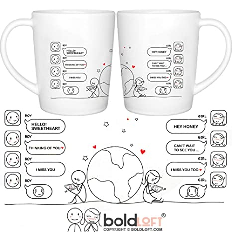 BOLDLOFT Wish You Were Here Couple Coffee Mugs- Long Distance Relationships  Gifts, Long Distance Mugs, Couples Gifts, His and Hers Gifts, LDR
