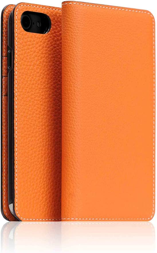 BONAVENTURA iPhone 7/8/SE 2020 Leather Wallet Case, Luxury German Shrunken Calf Leather Flip Cover Card Slot Holder with Gift Box, Handmade and Designed for Apple iPhone 7/8/SE 2020 (Orange)
