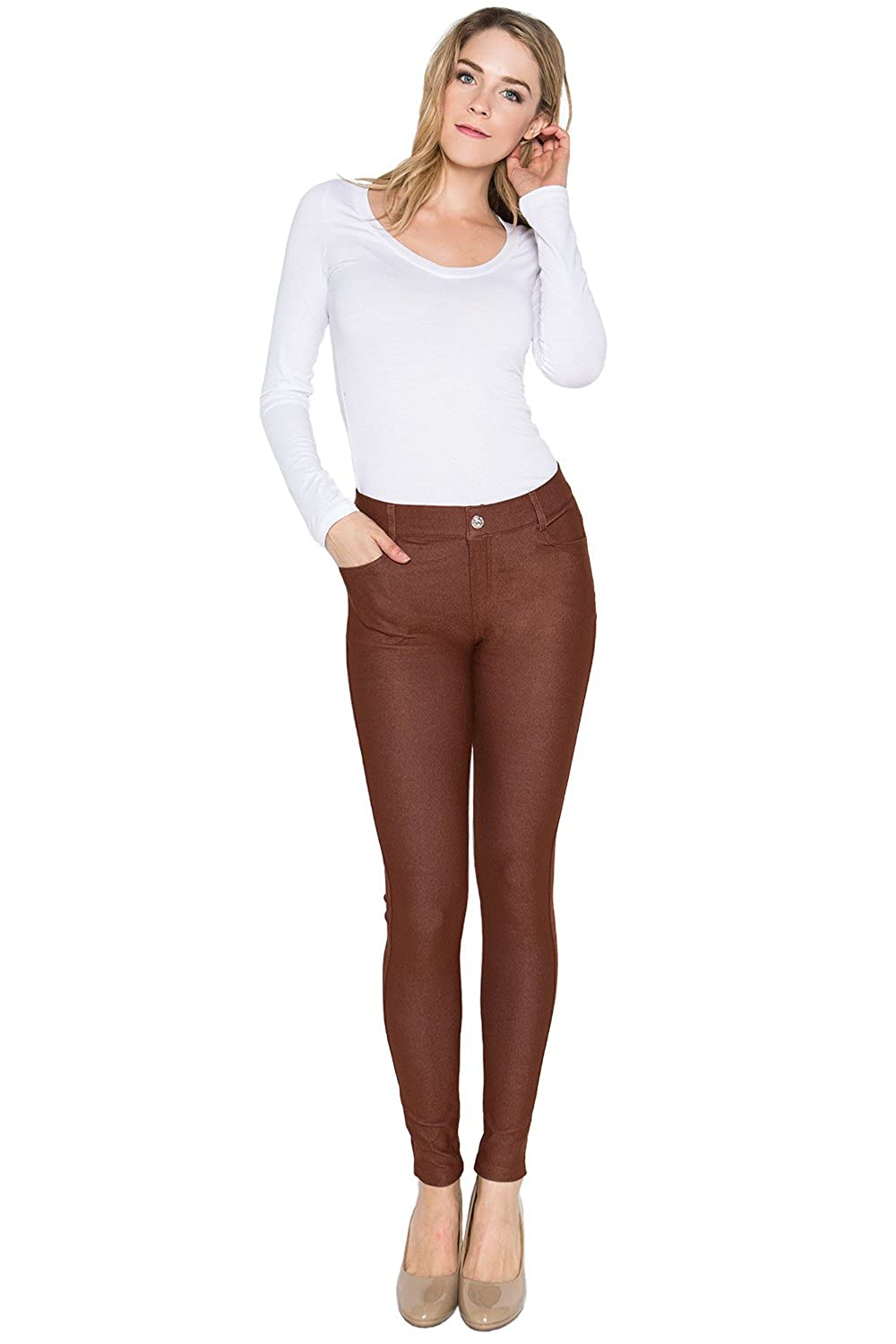 Coffee Trinity Jeans Women's Pull On Solid Fashion Skinny Jeggings Pants (Regular & Plus)