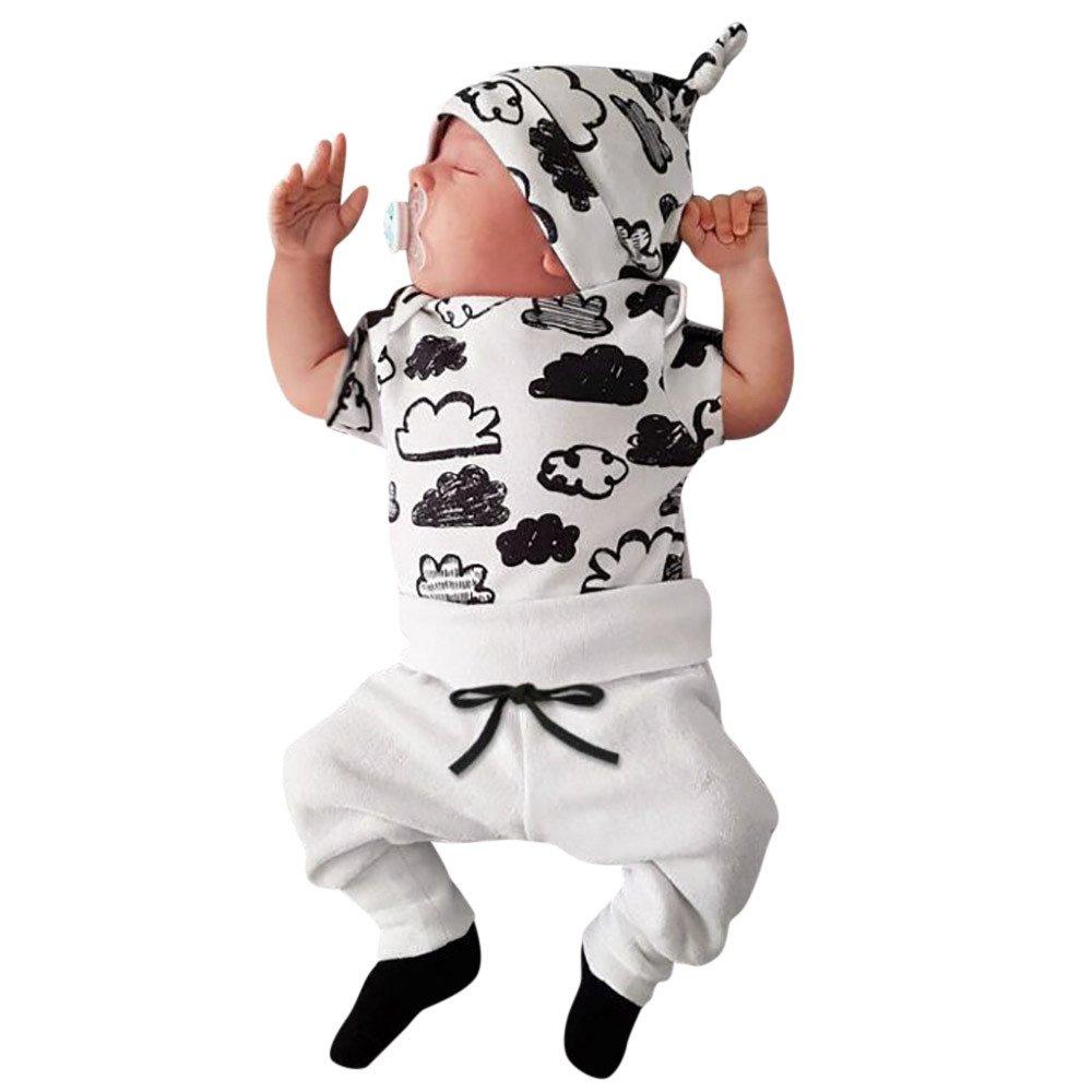 Neugeborenen Jumpsuits, Sunday Nette 3 STÜCKE Set Neugeborenen Jungen Strampler Tops + Lange Hosen Hut Outfits Kleidung 0-18 Mt (Weiß, 0-3 M)