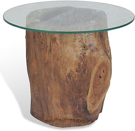Festnight Table d\'appoint Ronde à café avec Base en Bois de ...