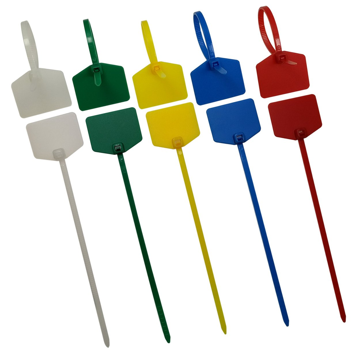 Naviurway Pack of 50 5 Colors mixed Write on Ethernet Wire Zip Ties Cable Mark Tags Nylon Power Marking Label Color coded