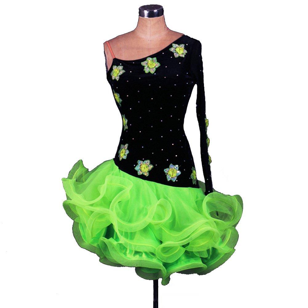 [Dance Queen]ラテンダンス衣装スカート ベルベット 無料寸法をあつらえる 3色展開 単袖 露肩 レス ラテンワンピース 社交ダンス衣装 開場ドレス演出服 1 ピース DQ2037 グリーン Medium