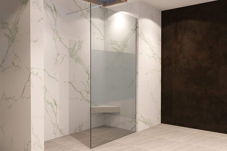 Duschabtrennung Duschwand Walk In Dusche 10mm STARK aus TEIL-SATINIERTEM ESG Sicherheitsglas mit Edelstahl Wandprofilen #740 140 x 200cm, Teilsatiniertes Glas
