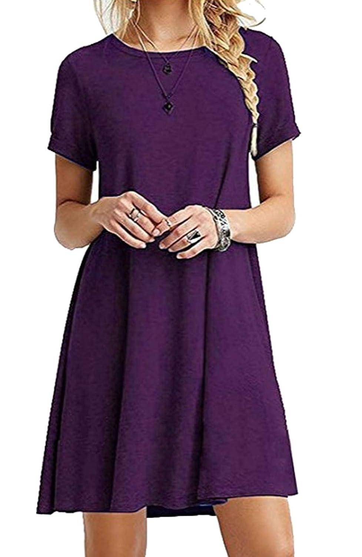 ZIOOER Damen Kleider Casual MiniKleid Langes Shirt Lose Tunika Kurzarm T-Shirt Kleid