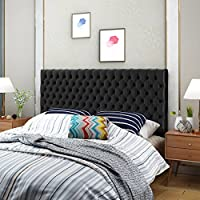 Jessica Tufted King/ Cal King Black Velvet Headboard