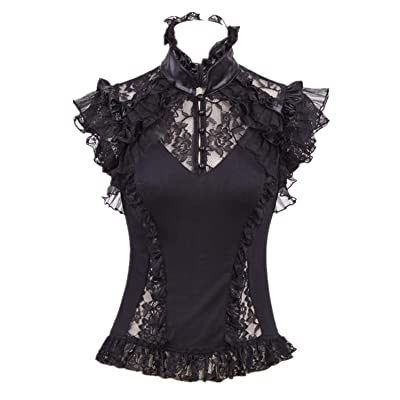 T-Shirts for Women Renaissance Blouse Victorian Ruffle Shirts Gothic Pirate Lace Tops Black at Women's Clothing store
