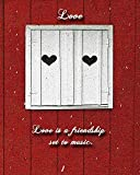 Two of Hearts with Customizable Love Quote. Perfect Valentine's Day gifts. Pretty white window shutters with hearts against a red barn with snow falling. Quotes about love are written on the image.