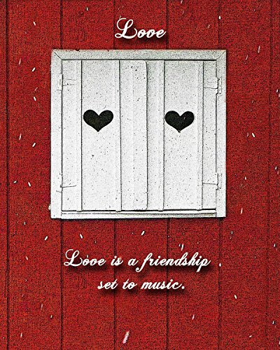 (Two of Hearts with Customizable Love Quote. Perfect Valentine's Day gifts. Pretty white window shutters with hearts against a red barn with snow falling. Quotes about love are written on the image.)