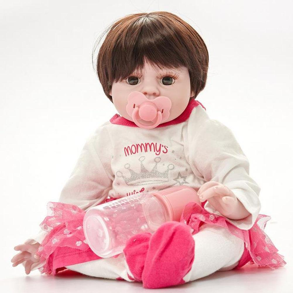 SHTWAD 50cm Reborn Baby Puppe Simulation Realistische Silikon Tuch KöRper Nette Augen GeöFfnete Jungen MäDchen Spielzeug Festival Geschenke