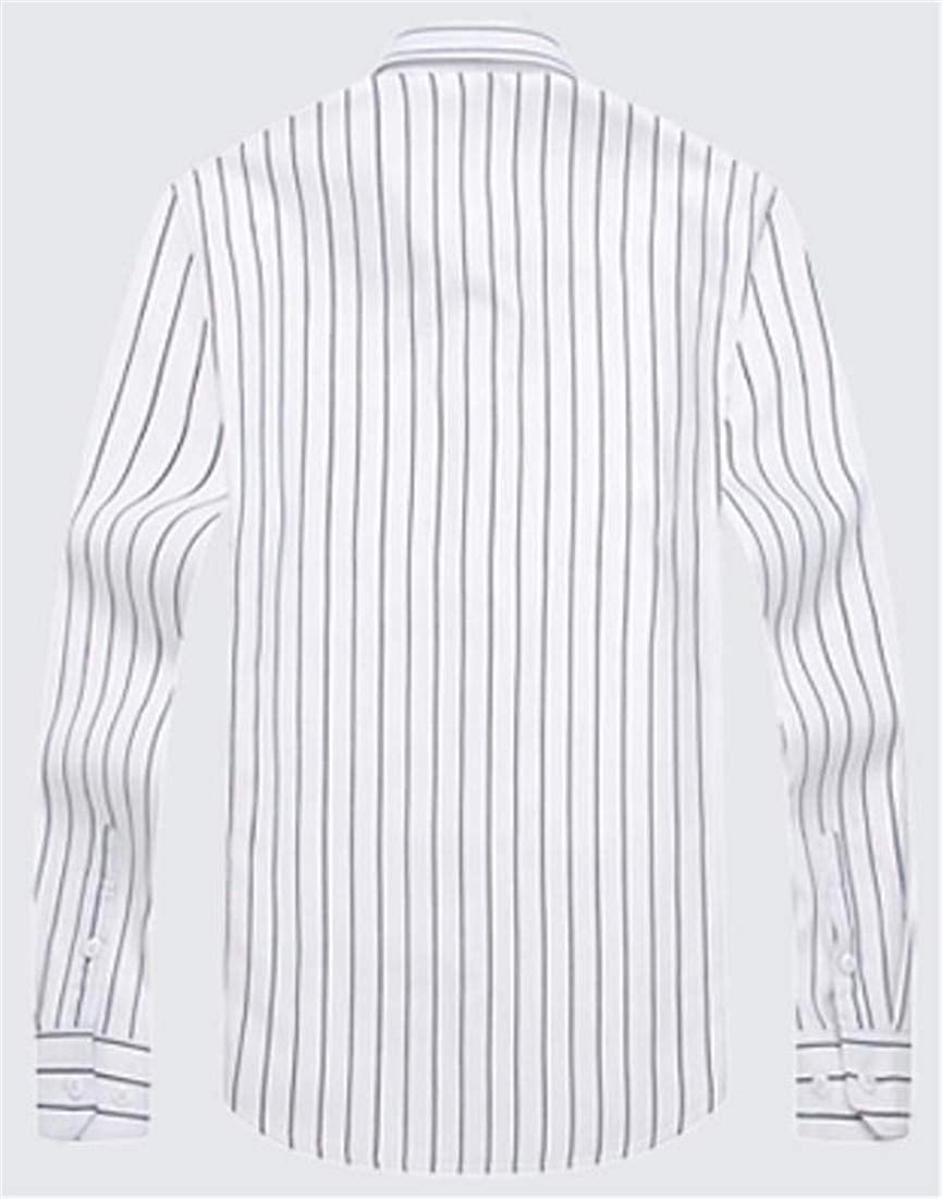 Cromoncent Mens Winter Fleece Thicken Stripe Long Sleeve Button Front Shirts