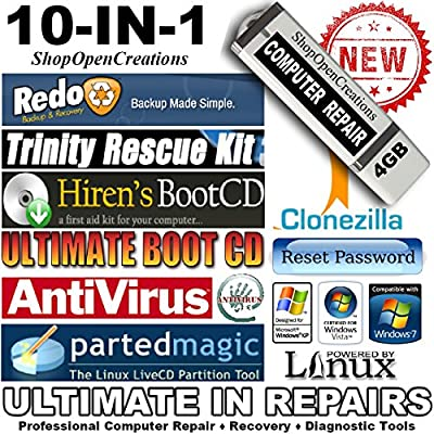 10 in 1 Ultimate Hiren's Computer Repair 4GB USB Bootable Flash Drive - Computer Rescue - Virus Removal - Data Recovery - Windows Password Reset - Backup Clone - Support Windows 7, Vista, XP and 2000