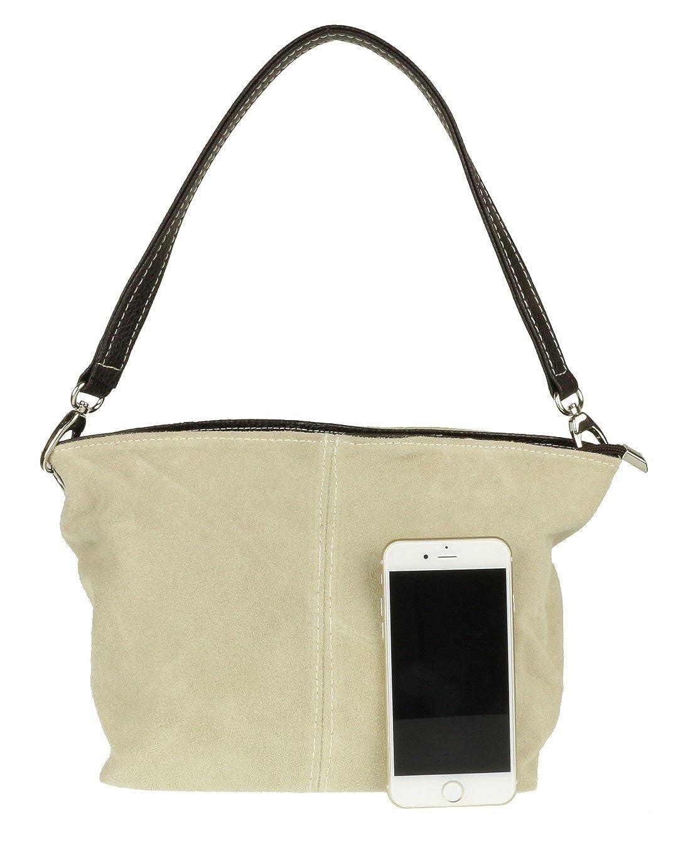 7d2640bda4f68 Girly HandBags Wildleder Umhängetasche Henkeltasche italienisch Tasche  (Beige)  Amazon.de  Schuhe   Handtaschen