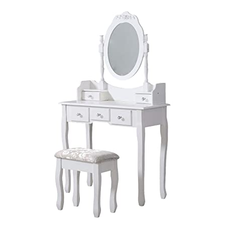 Avc Designs White Dressing Table Oval Mirror Stool Set 5 Drawer