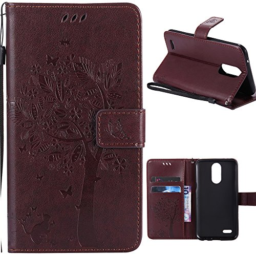 LG K10 2017 Wallet Case,HAOTP Love Tree Embossed Plants PU Flip Stand Credit Card ID Holders Soft TPU Inner Bumper Leather Case for LG K20 V / LG K20 Plus / LG Harmony / LG LV5 Brown