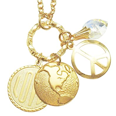 Amazon Com  World Peace Love Necklace With Swarovski Crystal Heart Gold Tone In Gold Tone Cora Hysinger Jewelry