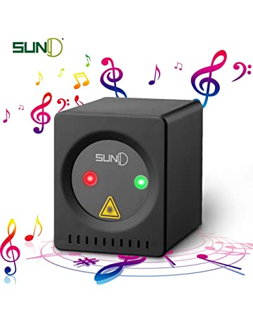 SUNY Mini Portable Cordless Laser Lights Rechargeable RG Aurora Patterns Gobo Projector Sound Activated Music DJ