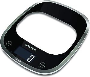 Balance numérique de cuisine Salter Curve - Balance de cuisson électronique en verre élégant pour la maison, pesez les aliments jusqu'à 5 kg + liquides en ml et en fl. Oz. 15 ans de garantie – noir