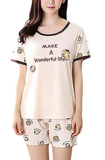 Pijama Mujer Verano Manga Corta Cuello Redondo Y Corto Pantalon Niñas Ropa Pijama Dos Piezas Lindo