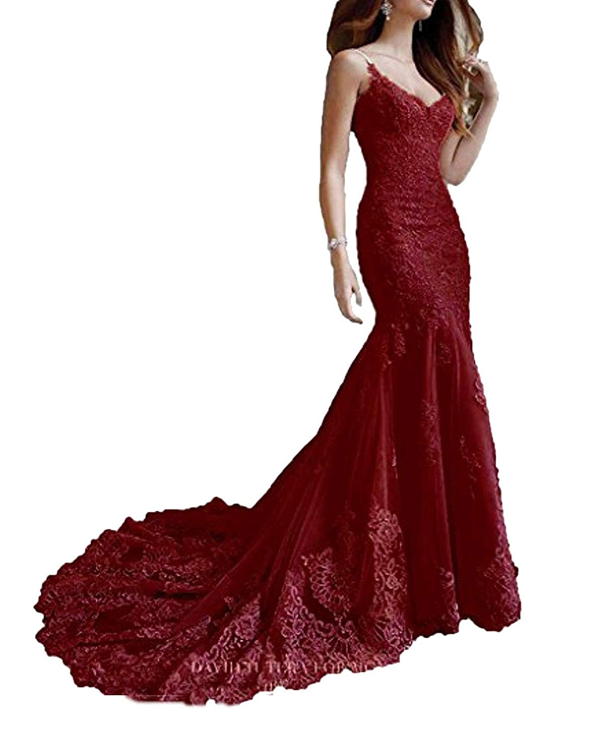 Burgundy Marirobe Women's Mermaid Lace Applique Formal Dresses V Neck Backless Wedding Dresses Sleeveless Evening Dresses