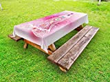 Lunarable Chakra Outdoor Tablecloth, Mystical Female Character with Lace Inspired Lines Solar System Balance Bohemian, Decorative Washable Picnic Table Cloth, 58 X 104 inches, Pale Pink