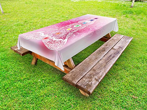 Lunarable Chakra Outdoor Tablecloth, Mystical Female Character with Lace Inspired Lines Solar System Balance Bohemian, Decorative Washable Picnic Table Cloth, 58 X 104 inches, Pale Pink by Lunarable