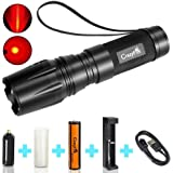 Tactical Red LED Flashlight, CrazyFire Zoomable Focus 5 Modes Brightness Waterproof Red Lighting Lamp with Rechargeable Battery & Charger for Cycling Hiking Camping Emergency
