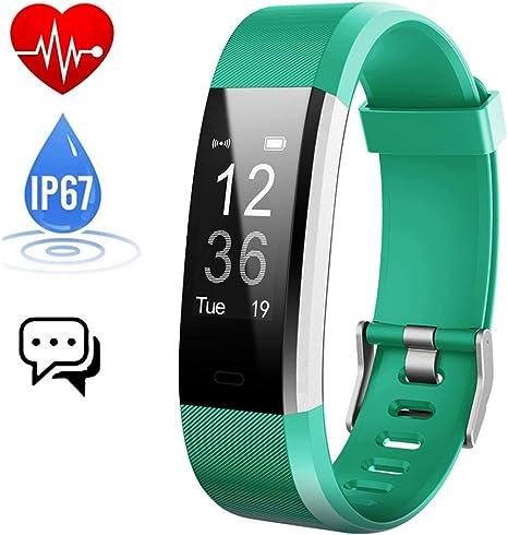 Pulsera Actividad,Monitor de Frecuencia Cardiáco, Pulsera Reloj Inteligente con Pulsómetro Impermeable IP67, Bluetooth 4.0, Podómetro,