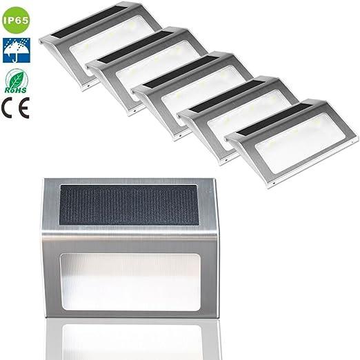 Liqoo® Pake 6 LED Solar Lámpara de Pared de Escalera para Exterior Blanco Frío 6000K sin Cable Foco Spotlight IP44 Impermeable Detector del Sensor de Luz para Jardín Patio Plataforma: Amazon.es: Iluminación