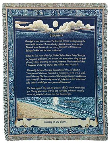 (Simply Home Footprints Deluxe Woven Inspirational Tapestry Throw Blanket USA Made SKU RTP007484)