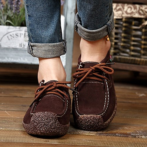 Femme Sangle Femmes Sneakers dérapant Plat Peas Yesmile Sneakers Mode Marron Bas Fond Chaussures Anti Loisirs AzdP1