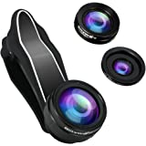 Phone Camera Lens Kit - BlitzWolf 3 in 1 Fisheye Lens iPhone 230 Degree + Wide Angle Lens 0.63X +Macro Len 15X with Clip for Android Samsung Smartphones and more