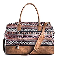 The faux leather may had smell ,you can air it out for several days.It will disappear  Durable, Light and soft canvas, brown faux leather Trim stitching handcraft, bottom Rivets Quality Solid copper Hardware, won't gather rust easily D...