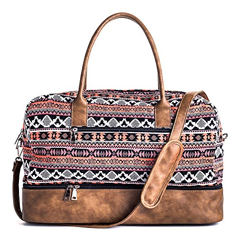 MyMealivos Canvas Weekender Bag, Overnight Travel Carry On Duffel Tote with Shoe Pouch (multi) (Weekend Bag)