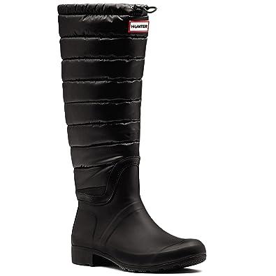 34e60e1a3456 hunter Womens Original Quilted Leg Winter Rain Waterproof Wellies Boots -  Black - 9