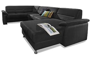 Sofa Couch Premium Leder Wohnlandschaft Alice Schwarz Mit