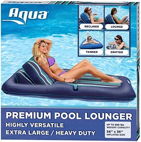 Aqua Premium Convertible Pool Lounger Inflatable Pool Float Heavy Duty X-Large 74\u201d ? 90\u201d Navy/Green/White Stripe