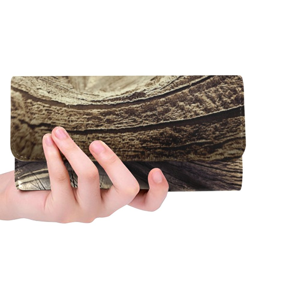Unique Custom Eye Wood Knothole Wood Eye Brown Wooden Structure Women Trifold Wallet Long Purse Credit Card Holder Case Handbag by JTMOVING