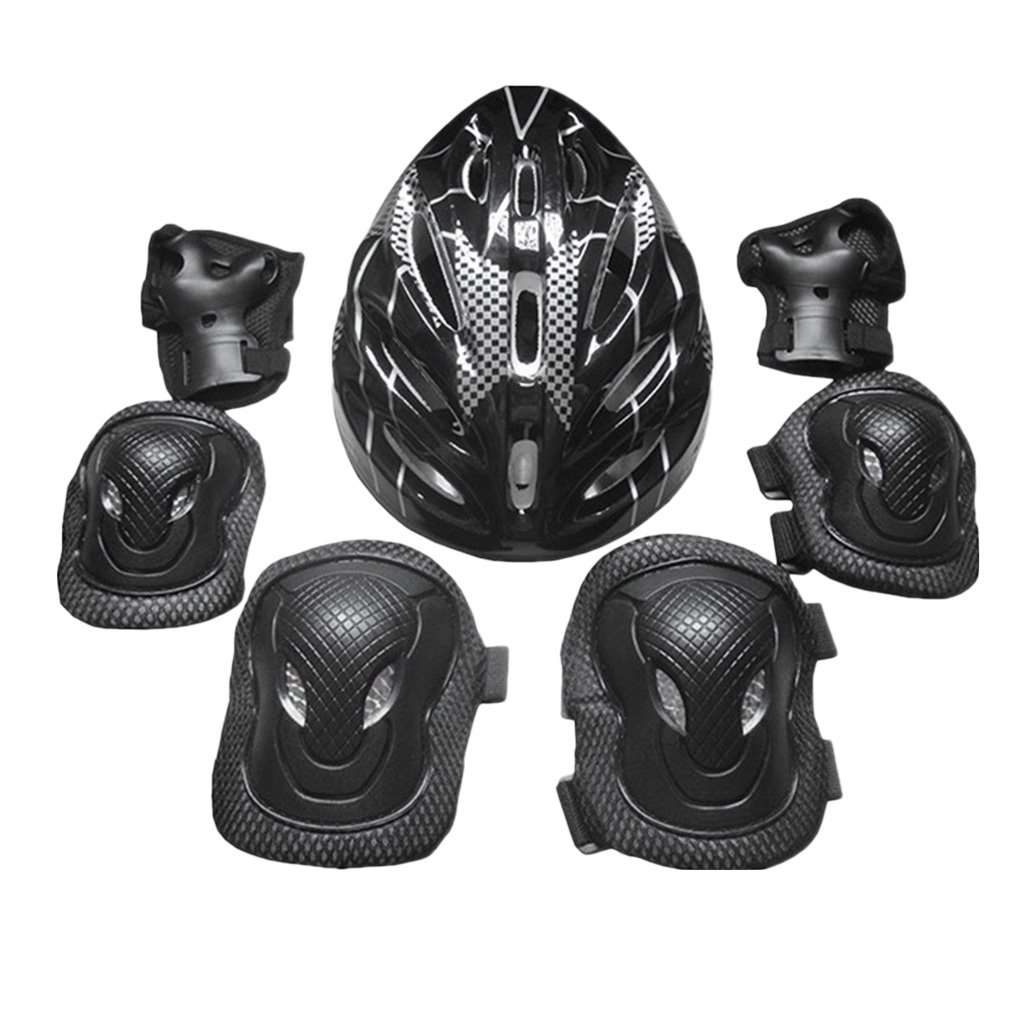 simhoa Adults Protective Gear Set Knee Pads Elbow Pads Hands Pads Helmet Outdoors - Black, 26x20x13cm