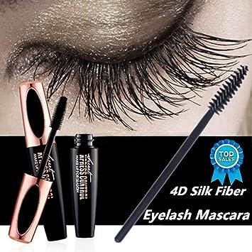eb64d6275df Amazon.com : 4D Silk Fiber Eyelash Mascara Cream, Premium Black Waterproof  Eyelash Extension Newest Eye Makeup cosmetic with 1 Eyelash Brush (black1)  : ...