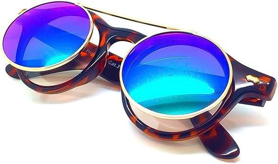 CGID Gafas de Sol Polarizadas Sin Patillas Steampunk Metal Retro Lente Doble UV400 Vintage Lentes de Forma Redonda Hombres y Mujeres clip-on