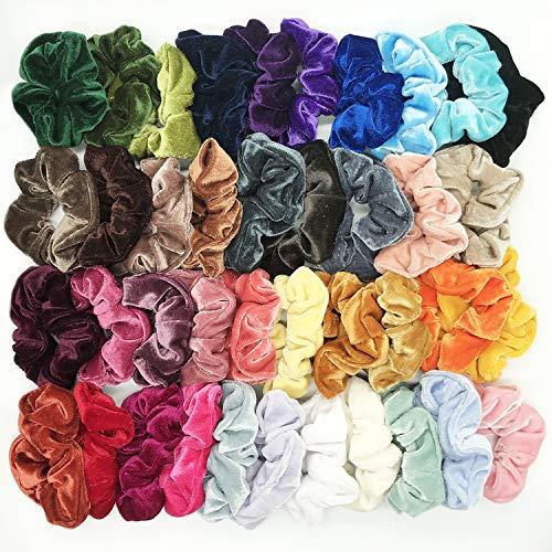 40 Pcs Hair Scrunchies Velvet Elastic Hair Bands Scrunchy Hair Ties Ropes Scrunchie for Women or Girls Hair Accessories - 40 Assorted ()