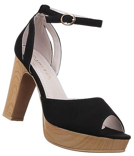 Damen Sandaletten Schuhe High Heels Pumps Stiletto Schwarz Rot 36 37 38 39 40 41