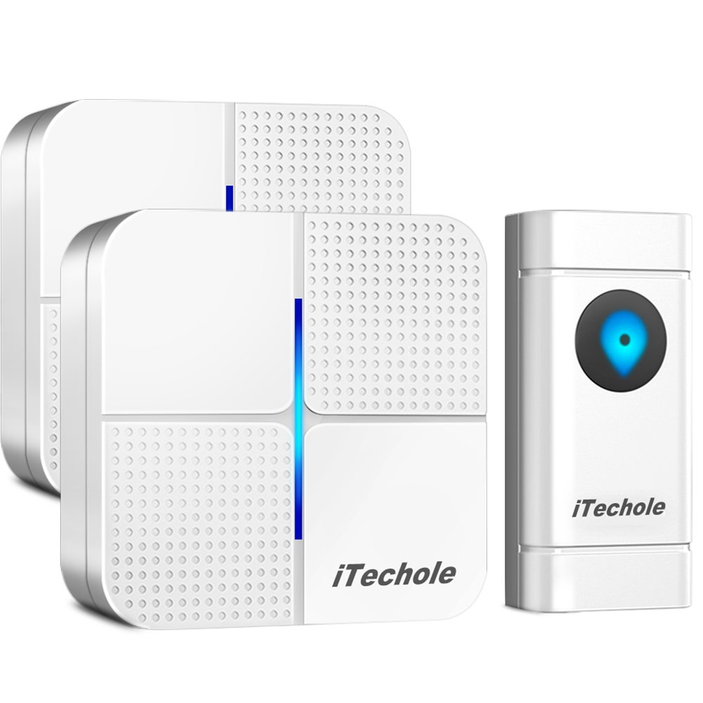 Door Bell, iTechole IP55 Waterproof Wireless Doorbell Chime Kit with 1000ft Range, 52 Loud Chimes to Choose, 4-Level Volume & LED Flash, Batteries Included, Twin Plug In Doorbells for Home, Office 282173