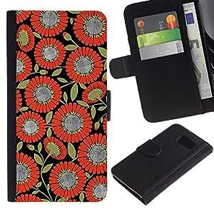 Billetera de Cuero Caso Titular de la tarjeta Carcasa Funda para Samsung Galaxy S6 SM-G920 / Pattern Fabric Orange Black / STRONG