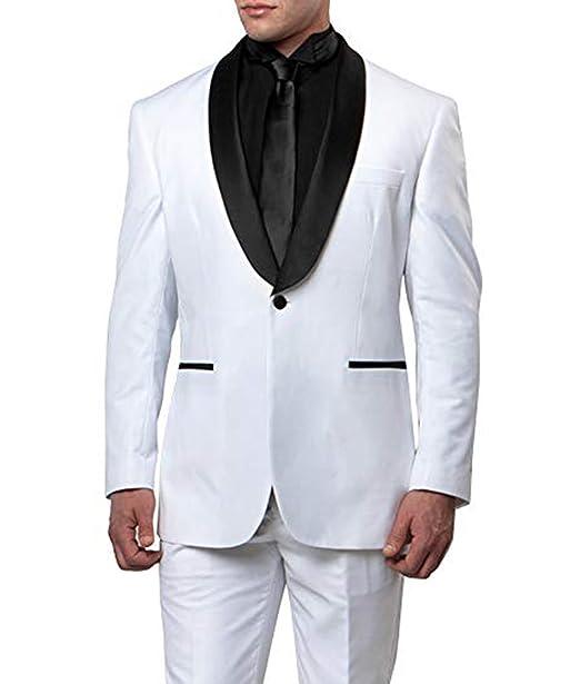 Amazon.com: Traje de hombre 2 piezas negro chal blanco ...