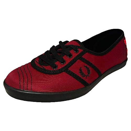 Fred Perry Aubrey Mujer Zapatillas Granate: Amazon.es: Zapatos y complementos