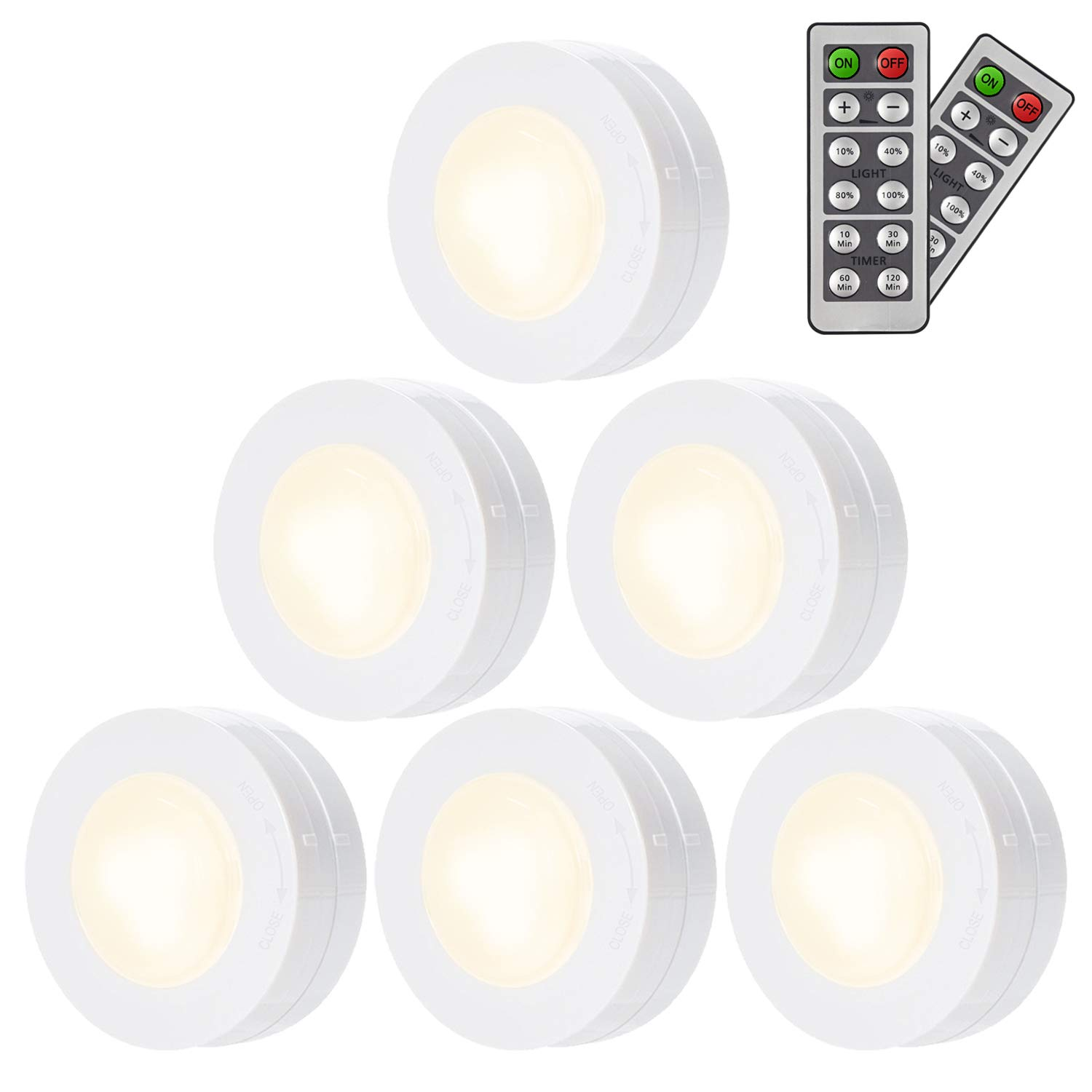SALKING LED Under Cabinet Lighting, Wireless LED Puck Lights with Remote Control, Dimmable Closet Light, Battery Powered Under Counter Lights for Kitchen, Natural White 6 Pack by Salking (Image #1)