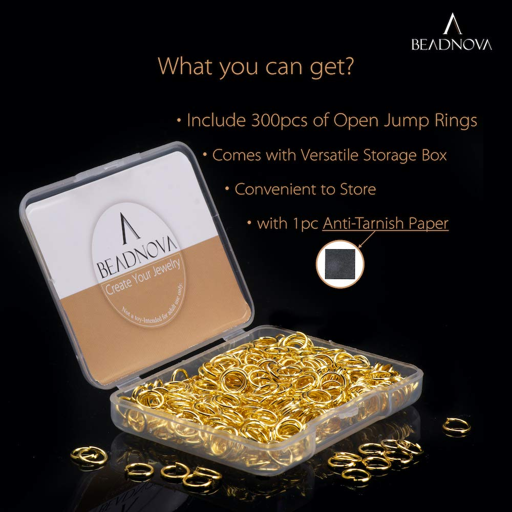 300Pcs BEADNOVA 4mm Open Jump Ring Gold Plated Jewelry Making Jump Ring Metal Jump Ring
